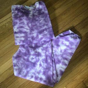 Tie Dye Sweat Set Handmade (Purple Dye)